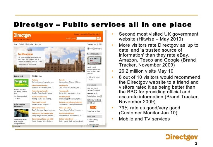 Directgov – Public services all in one place <ul><li>Second most visited UK government website (Hitwise – May 2010) </li><...