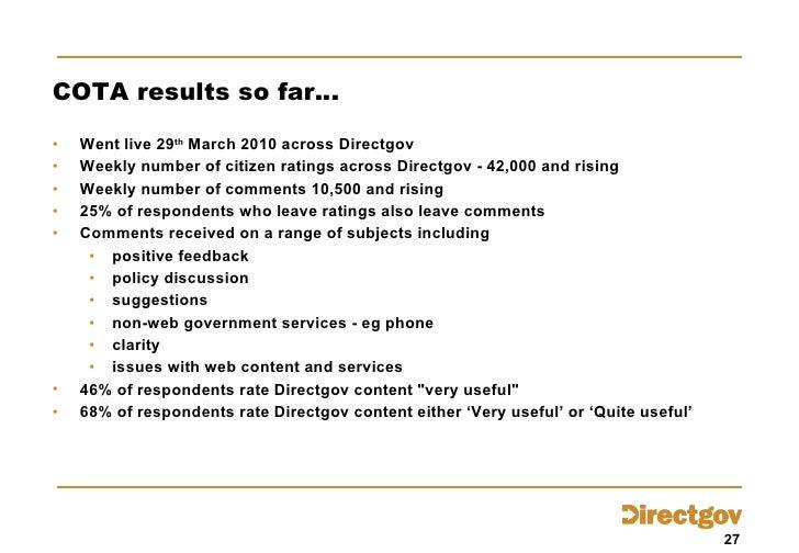 COTA results so far… <ul><li>Went live 29 th  March 2010 across Directgov </li></ul><ul><li>Weekly number of citizen ratin...