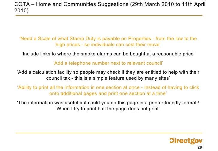 COTA – Home and Communities Suggestions ( 29th March 2010 to 11th April 2010) ' Need a Scale of what Stamp Duty is payable...