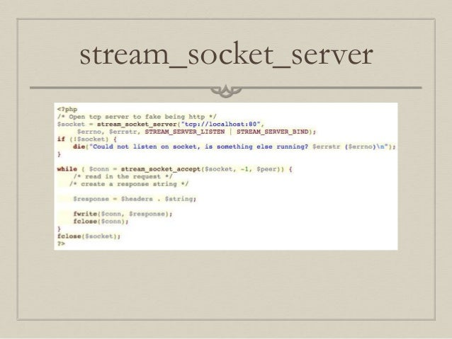 Socket programming with php