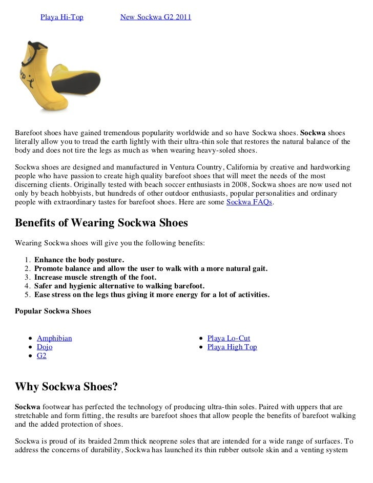 Playa Hi-Top             New Sockwa G2 2011Barefoot shoes have gained tremendous popularity worldwide and so have Sockwa s...