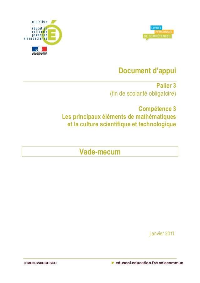 Document d'appui Palier 3 (fin de scolarité obligatoire) Compétence 3 Les principaux éléments de mathématiques et la cultu...