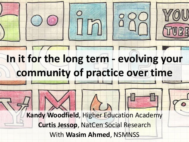 In it for the long term - evolving your community of practice over time Kandy Woodfield, Higher Education Academy Curtis J...