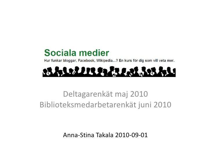 Deltagarenkät maj 2010<br />Biblioteksmedarbetarenkät juni 2010<br />Anna-Stina Takala 2010-09-01<br />