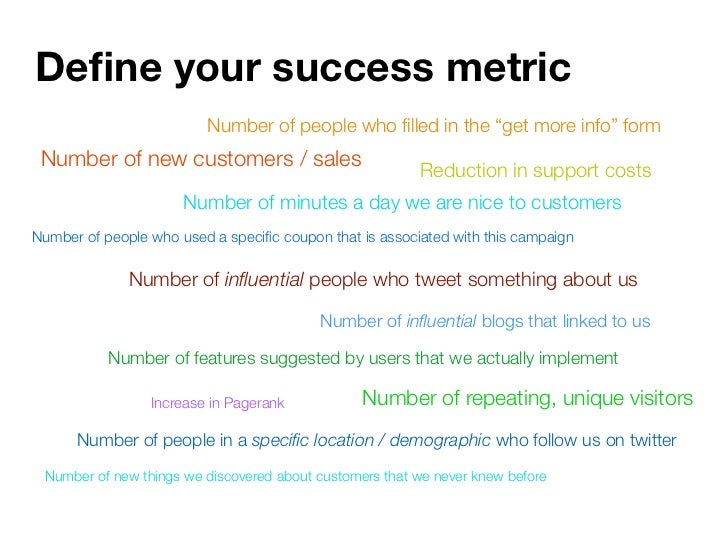 """Define your success metric                          Number of people who filled in the """"get more info"""" form  Number of new c..."""