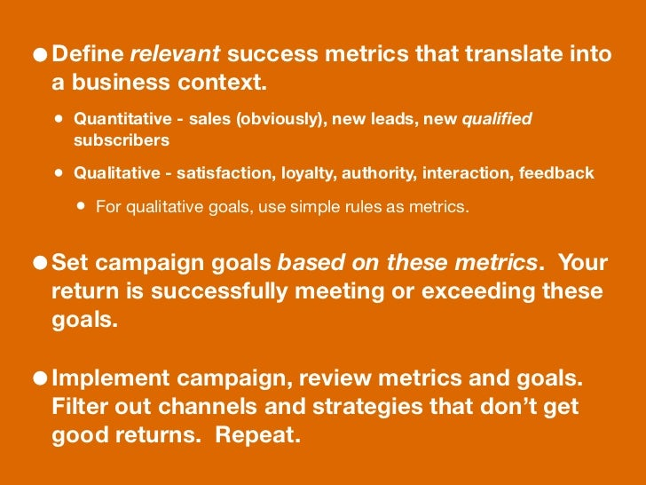 • Define relevant success metrics that translate into  a business context.  • Quantitative - sales (obviously), new leads, ...
