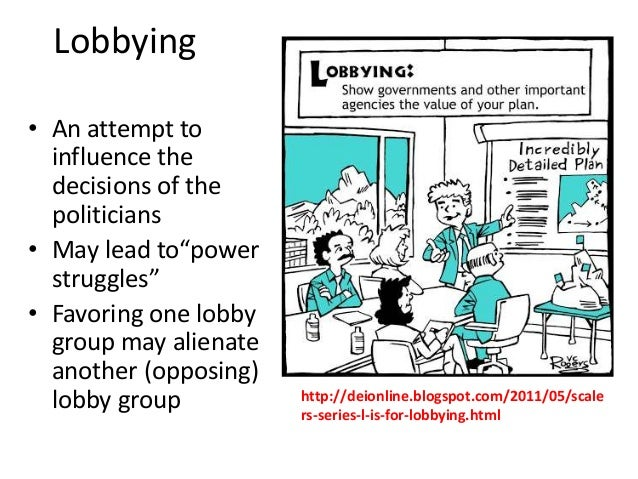 """Lobbying • An attempt to influence the decisions of the politicians • May lead to""""power struggles"""" • Favoring one lobby gr..."""