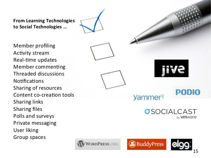 From Learning Technologies to Social Technologies … Member profiling Ac=vity stream Real-‐=me upda...