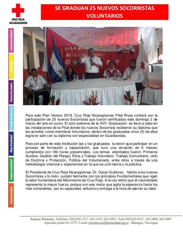 Para este Plan Verano 2019, Cruz Roja Nicaragüense Filial Rivas contará con la participación de 25 nuevos Socorristas que ...