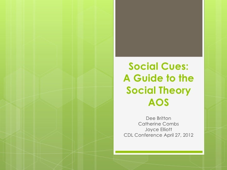 Social Cues:A Guide to theSocial Theory     AOS        Dee Britton     Catherine Combs       Joyce ElliottCDL Conference A...