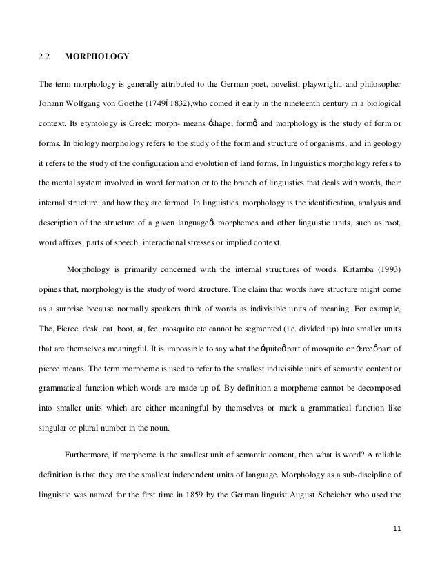 paper on english morphology Study to date exploring the variable production of english past this paper will proceed as knowledge of english past tense morphology and the inaccurate.