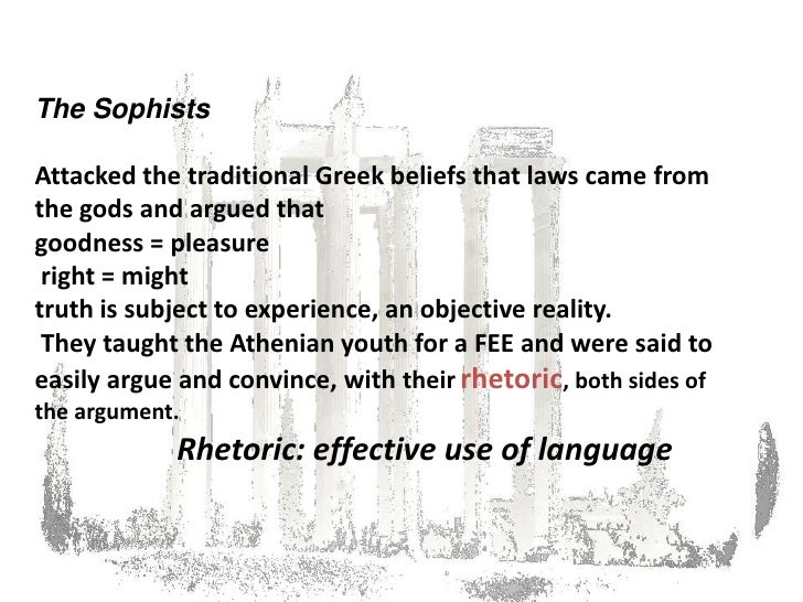 the pre socratics sophist and plato The primary difference between socrates and the sophists seems to lie in a disagreement on whether or not a truth (or knowledge) might be absolute socrates (and plato) pursued a line of rational thought intended to discover or determine real philosophical absolutes.