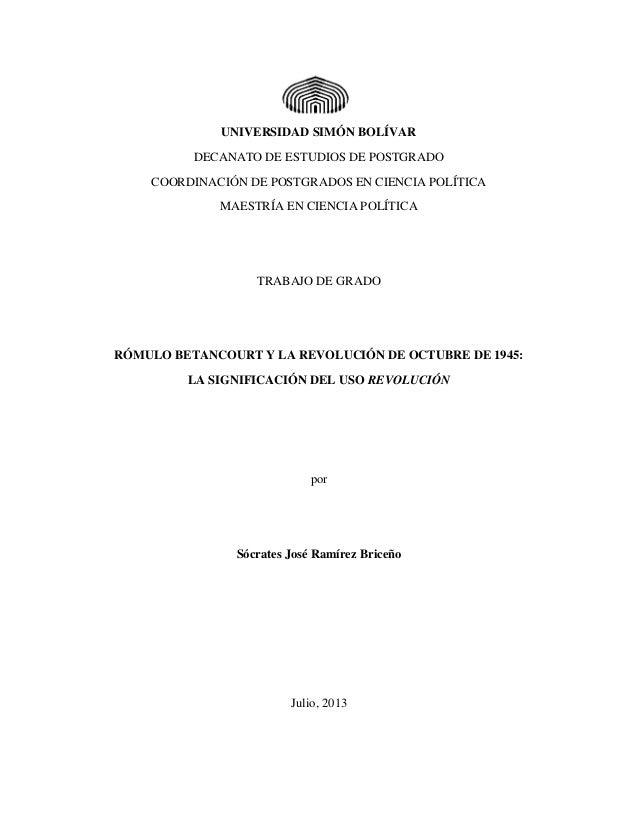 UNIVERSIDAD SIMÓN BOLÍVAR DECANATO DE ESTUDIOS DE POSTGRADO COORDINACIÓN DE POSTGRADOS EN CIENCIA POLÍTICA MAESTRÍA EN CIE...