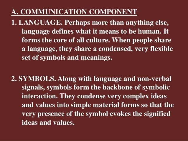 A. COMMUNICATION COMPONENT 1. LANGUAGE. Perhaps more than anything else, language defines what it means to be human. It fo...