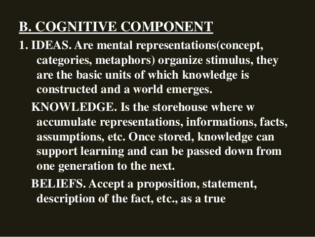 B. COGNITIVE COMPONENT 1. IDEAS. Are mental representations(concept, categories, metaphors) organize stimulus, they are th...