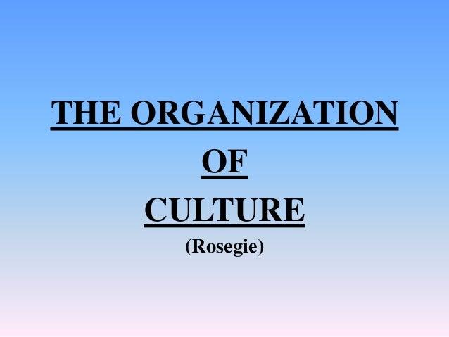 THE ORGANIZATION OF CULTURE (Rosegie)