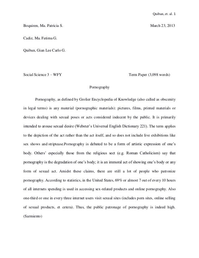 Research paper about pornography