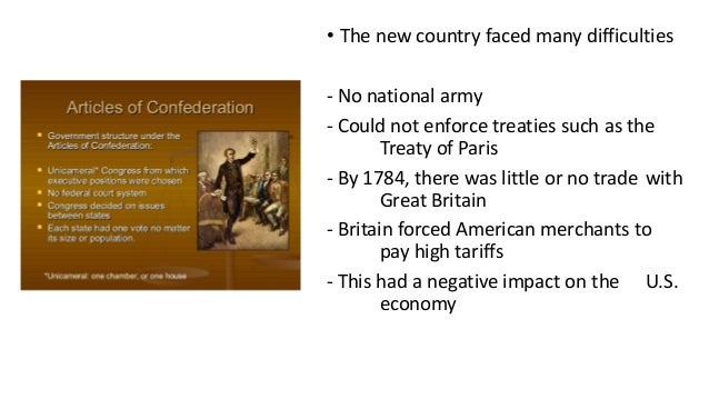 the effects of the articles of confederation on the us economy The united states constitution that emerged from the the constitution came into effect in 1789 and has served under the articles of confederation.