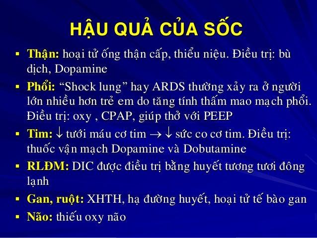 """HAÄU QUAÛ CUÛA SOÁC  Thaän: hoaïi töû oáng thaän caáp, thieåu nieäu. Ñieàu trò: buø        dòch, Dopamine Phoåi: """"Sh..."""