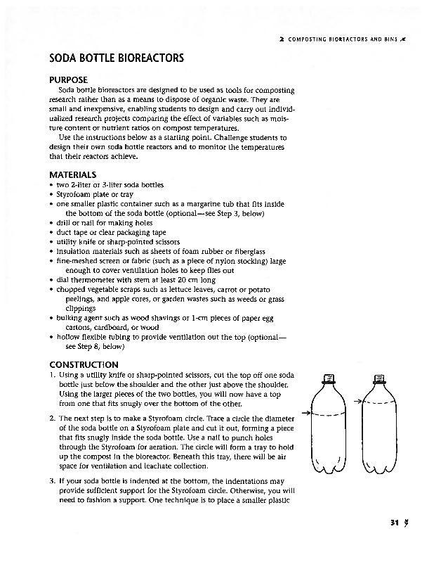 Soda bottle bioreactors