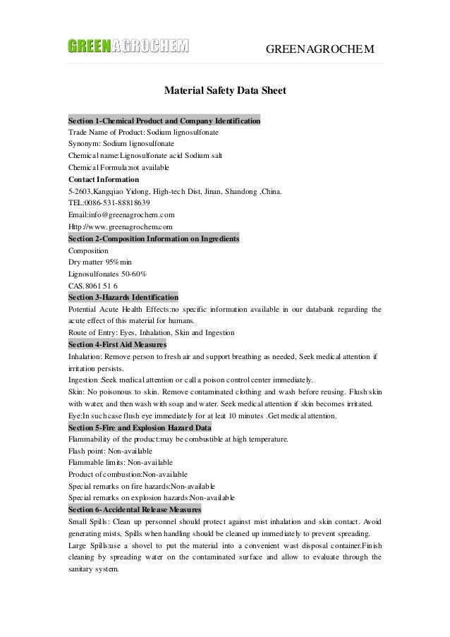 GREENAGROCHEM Material Safety Data Sheet Section 1-Chemical Product and Company Identification Trade Name of Product: Sodi...