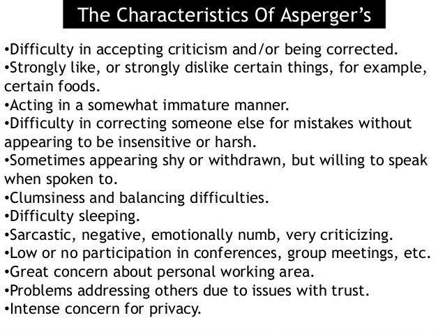 dating someone with aspergers symptoms I am not an expert in asperger's syndrome relationships between asperger's and non-asperger's people can certainly work this one didn't.