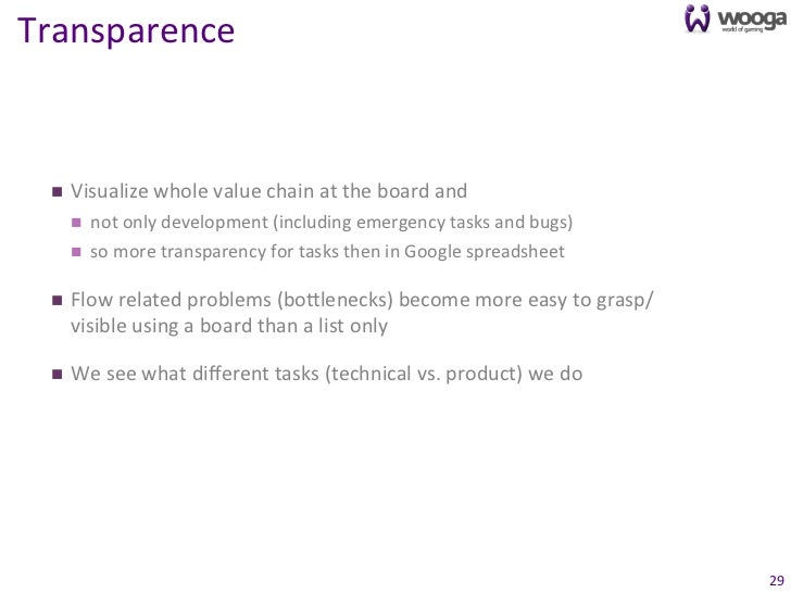 Transparence   n   Visualize whole value chain at the board and          n   not only developm...