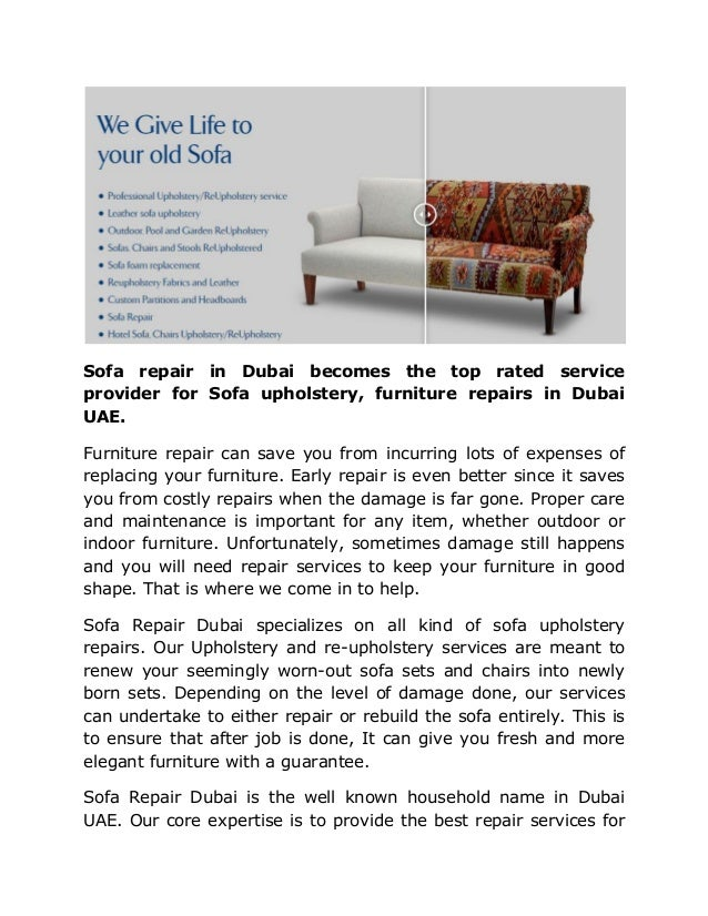 Sofa repair in dubai becomes the top rated service provider for sofa …