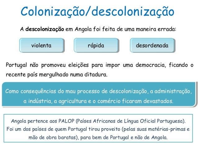 Colonização/descolonizaçãoA descolonização em Angola foi feita de uma maneira errada:rápidarápida desordenadadesordenadavi...