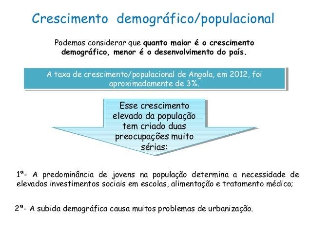 Crescimento demográfico/populacionalPodemos considerar que quanto maior é o crescimentodemográfico, menor é o desenvolvime...