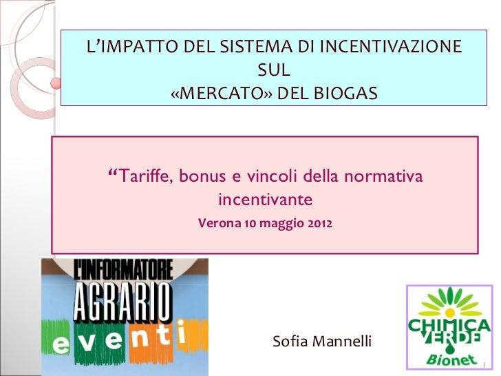 """L'IMPATTO DEL SISTEMA DI INCENTIVAZIONE                  SUL        «MERCATO» DEL BIOGAS  """"Tariffe, bonus e vincoli della ..."""