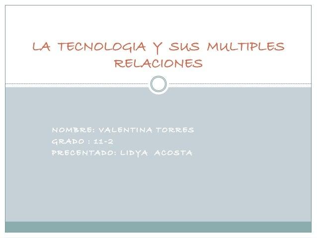 NOMBRE: VALENTINA TORRES GRADO : 11 -2 PRECENTADO: LIDYA ACOSTA LA TECNOLOGIA Y SUS MULTIPLES RELACIONES