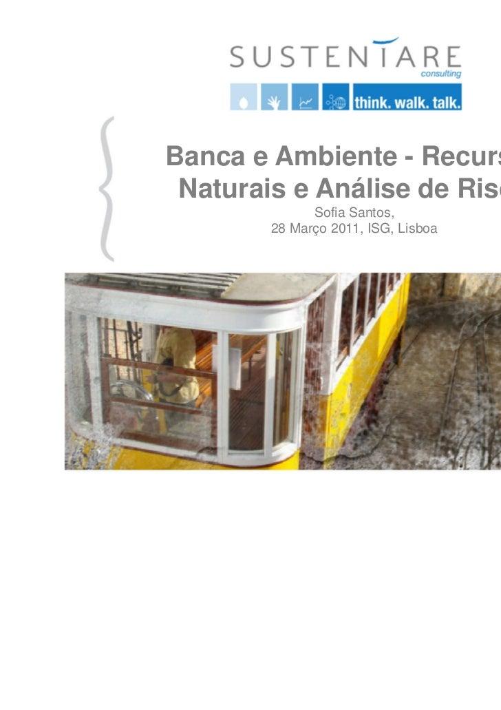 Banca e Ambiente - Recursos Naturais e Análise de Risco             Sofia Santos,       28 Março 2011, ISG, Lisboa