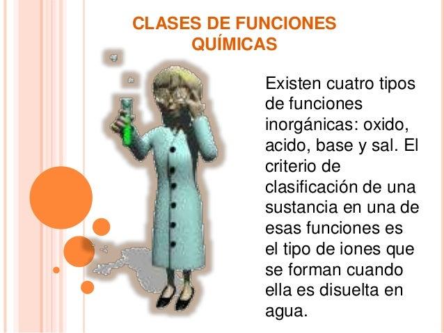 CLASES DE FUNCIONES QUÍMICAS Existen cuatro tipos de funciones inorgánicas: oxido, acido, base y sal. El criterio de clasi...