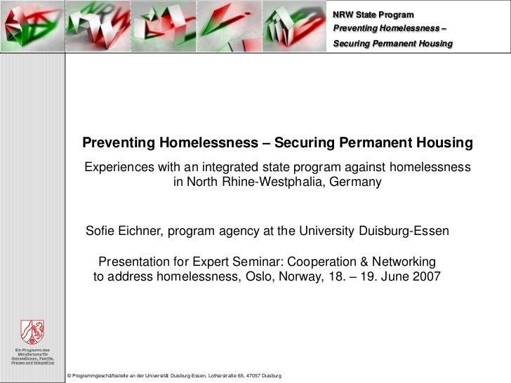 NRW State Program                                                                                               Preventing...