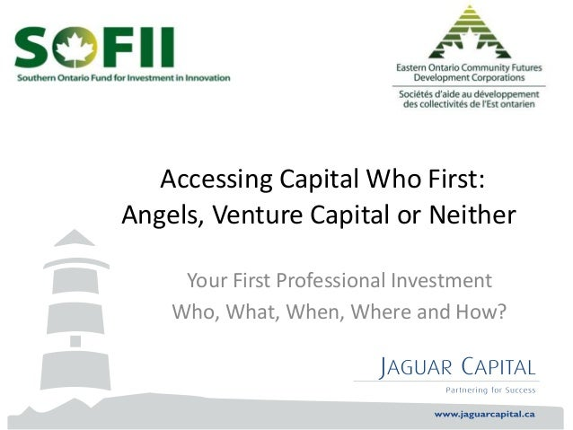 Accessing Capital Who First: Angels, Venture Capital or Neither Your First Professional Investment Who, What, When, Where ...