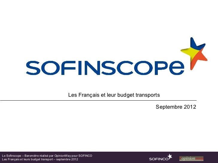 Les Français et leur budget transports                                                                                Sept...