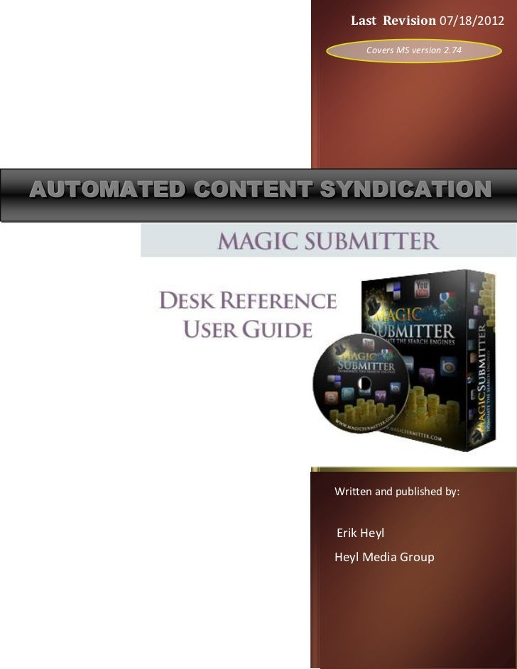 Last Revision 07/18/2012                         Covers MS version 2.74AUTOMATED CONTENT SYNDICATION                   Wri...