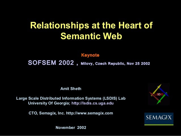Relationships at the Heart of Semantic Web Amit Sheth Large Scale Distributed Information Systems (LSDIS) Lab University O...