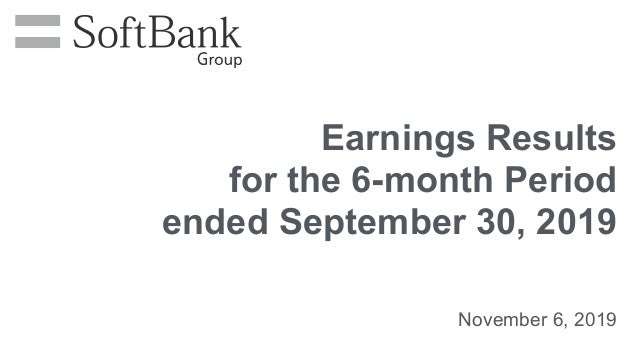 November 6, 2019 Earnings Results for the 6-month Period ended September 30, 2019