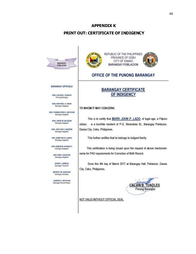 Computerized information system in barangay poblacion danao city ce 48 appendix k print out certificate of indigency yadclub Choice Image