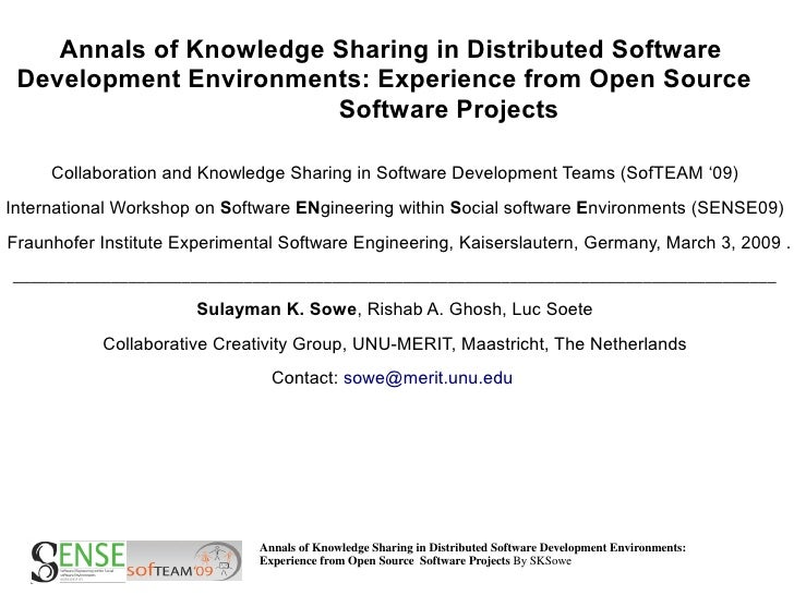 Annals of Knowledge Sharing in Distributed Software  Development Environments: Experience from Open Source                ...