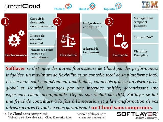 12 Le Cloud sans compromis  Webinar du 6 Novembre 2014 – Cloud Enterprise Sales  www.softlayer.com  © 2014 IBM Corporation...
