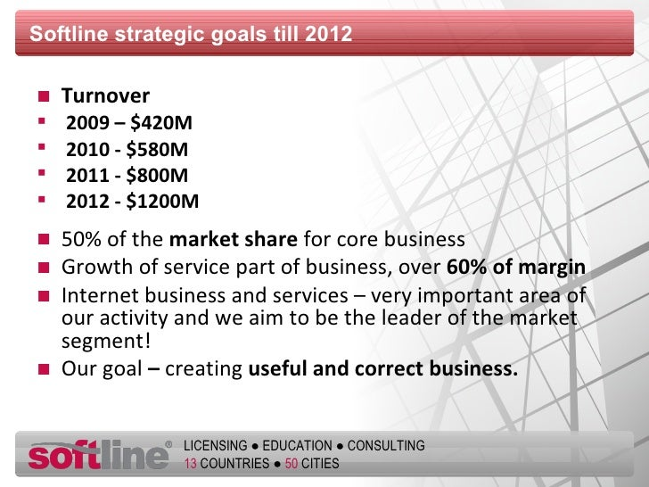 Softline strategic goals till 2012 <ul><li>Turnover </li></ul><ul><li>2009 –  $ 420М </li></ul><ul><li>2010 -  $580 М </li...