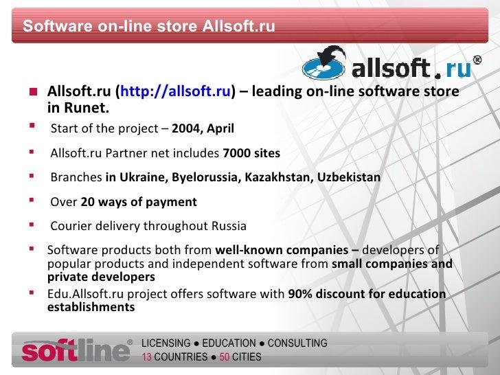 Software on-line store   Allsoft.ru <ul><li>Allsoft.ru ( http://allsoft.ru ) – leading on-line software store   in Runet ....