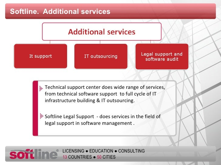 Softline.  Additional services Technical support center   does wide range of services ,  from technical software support  ...