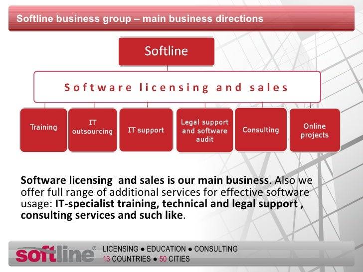 Softline business group – main business directions  <ul><li>Software licensing  and sales is our main business . Also we o...