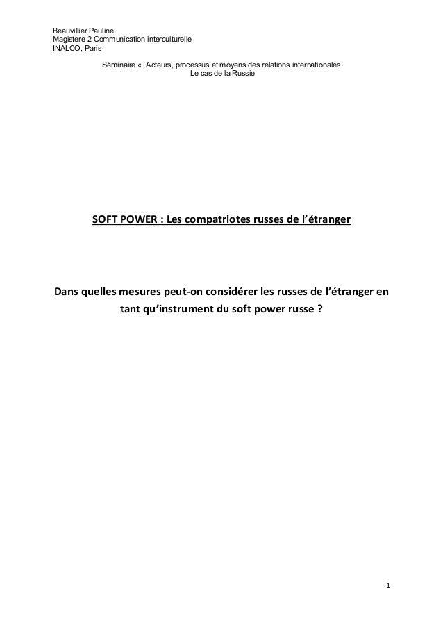 Beauvillier PaulineMagistère 2 Communication interculturelleINALCO, Paris              Séminaire « Acteurs, processus et m...