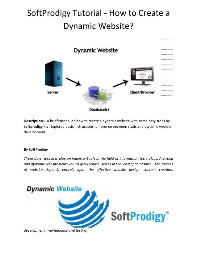 SoftProdigy Tutorial - How to Create a Dynamic Website? ----------- ----------- ----------- ----------- ----------- ------...
