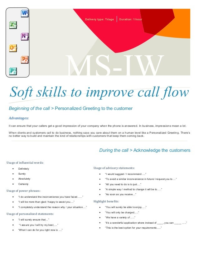 Delivery type: Triage  Duration: 1 hour  MS-IW  Soft skills to improve call flow Beginning of the call > Personalized Gree...